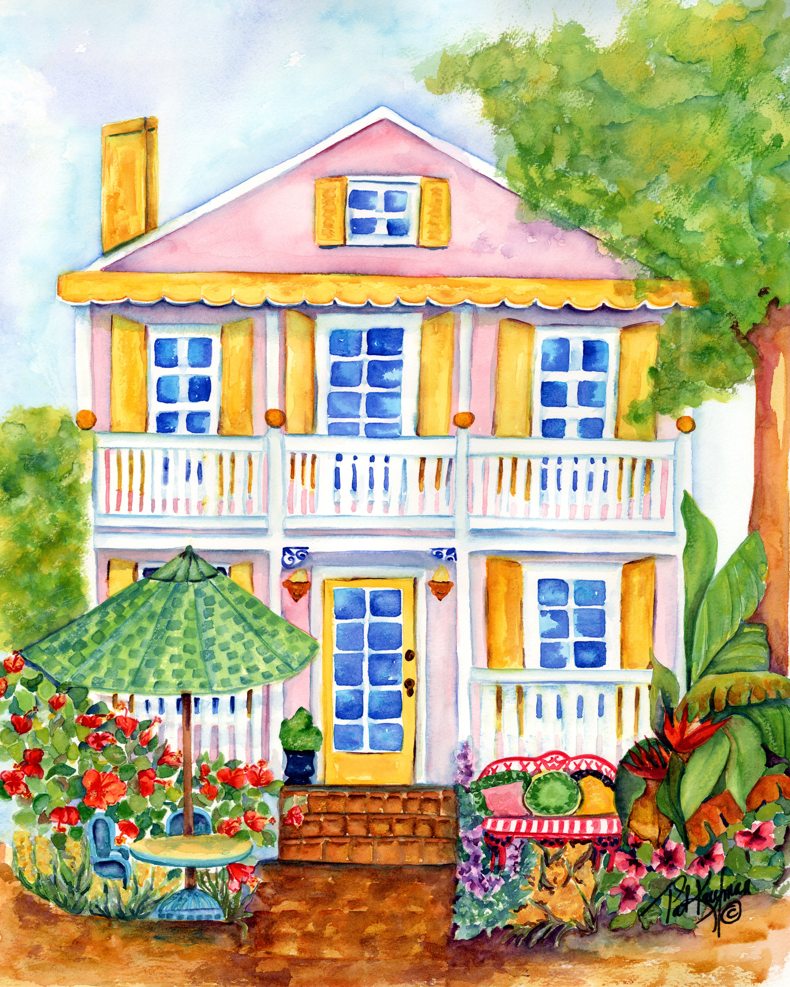 Delray beach artist pat kaufman art attack for Watercolor cottages